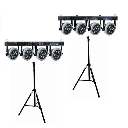 2 x 4 LED spots op statief