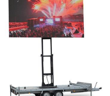 Mobiel outdoor led scherm huren op aanhangwagen te huur
