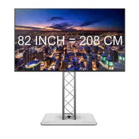Verhuur van 82 inch 4K TV scherm. Geschikt voor beursstand en presentatie.