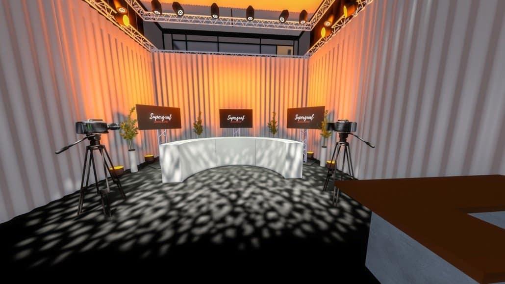 Studio setting met half ronde presentatie desk