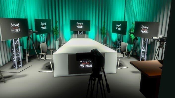 Studio setup met presentatie tafel